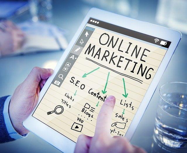 Tablet showing online marketing plan